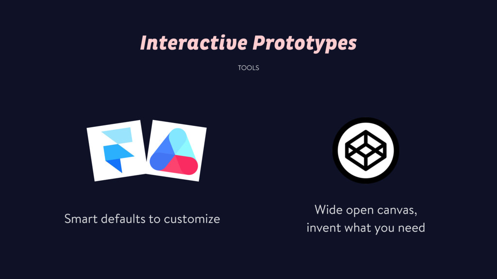 Interactive Prototypes TOOLS Smart defaults to ...
