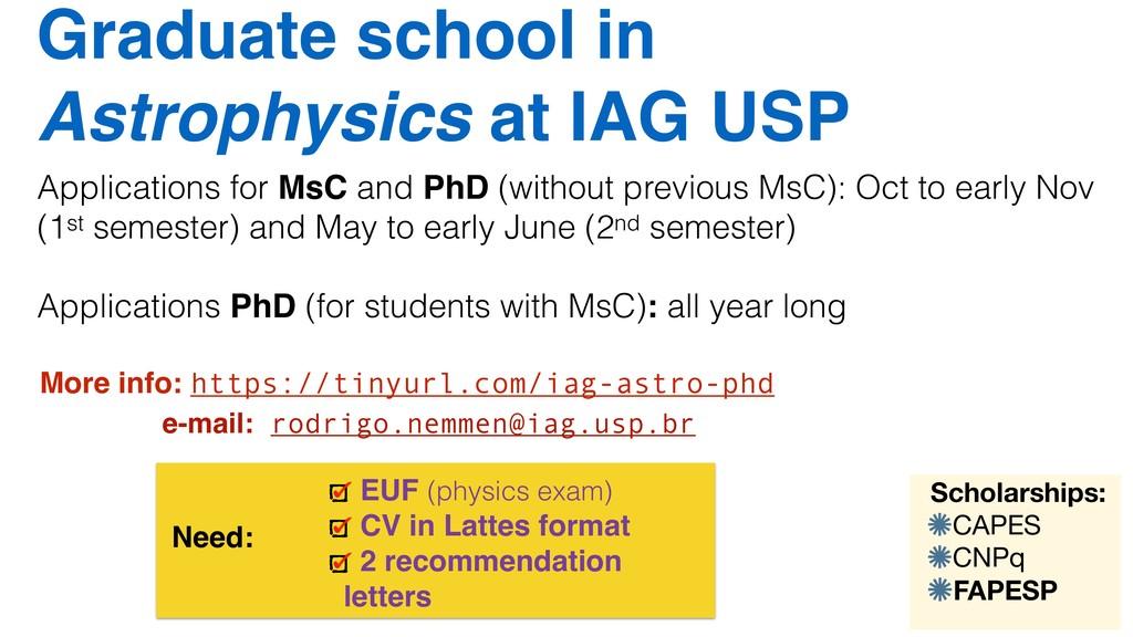 Graduate school in Astrophysics at IAG USP Need...