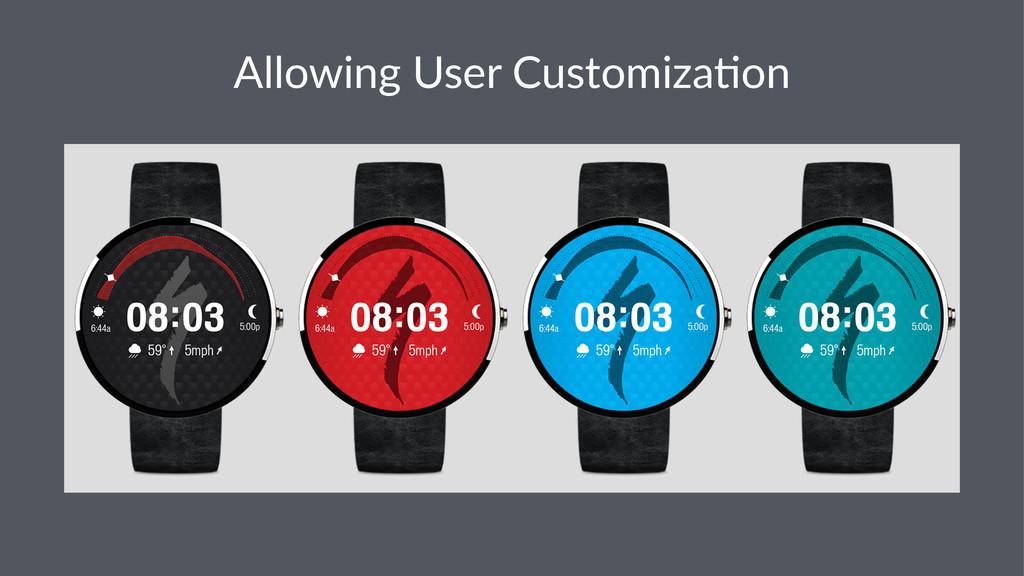 Allowing(User(Customiza3on
