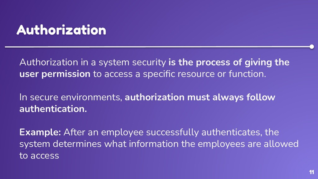 11 Authorization Authorization in a system secu...