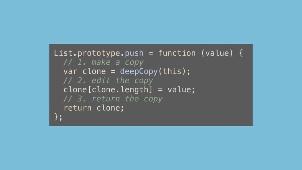 List.prototype.push = function (value) { // 1. ...
