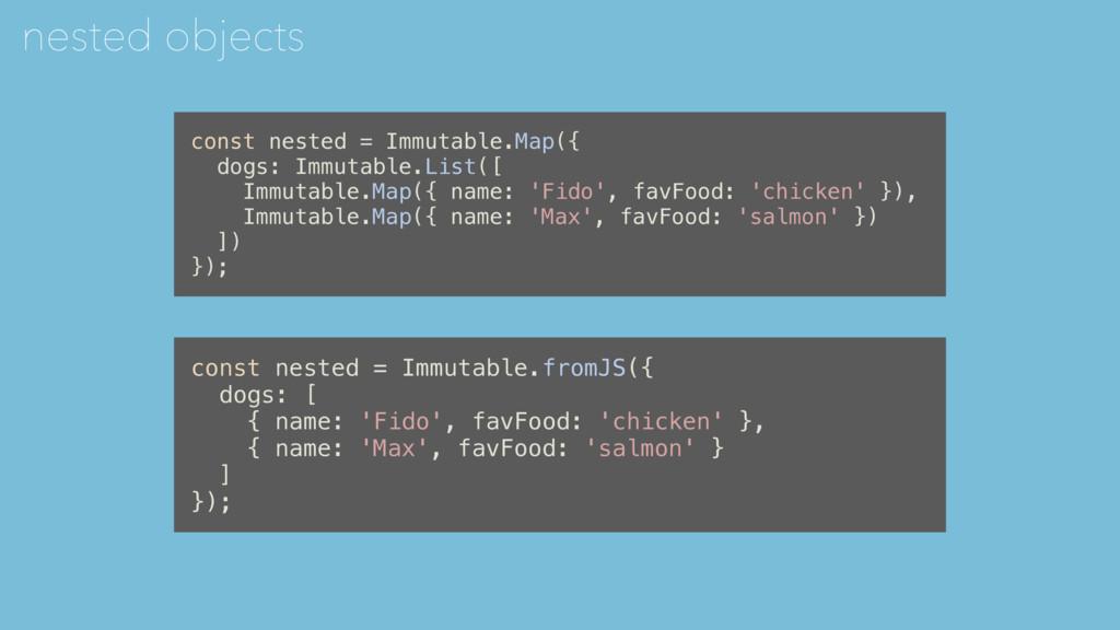 nested objects const nested = Immutable.fromJS(...