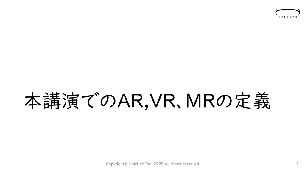 本講演でのAR,VR、MRの定義 Copyright© HoloLab Inc. 2020 A...