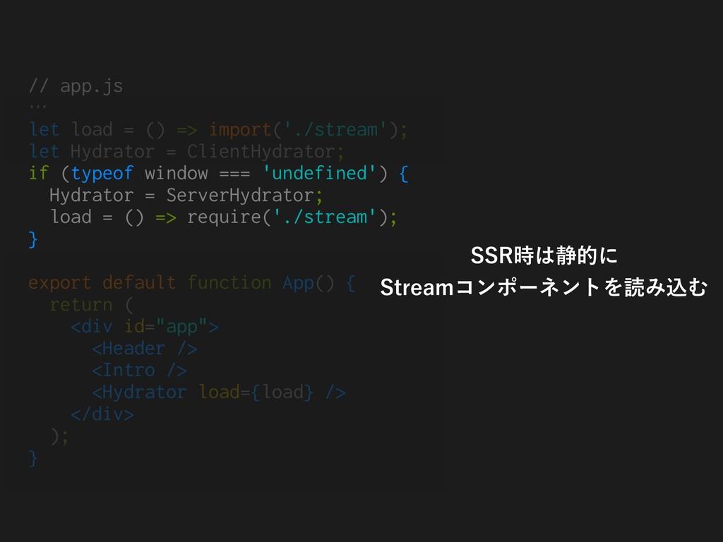 // app.js … let load = () => import('./stream')...