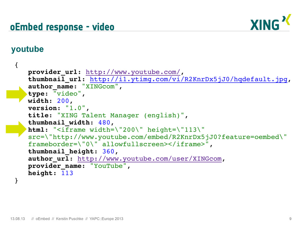 oEmbed response - video 13.08.13 // oEmbed // K...