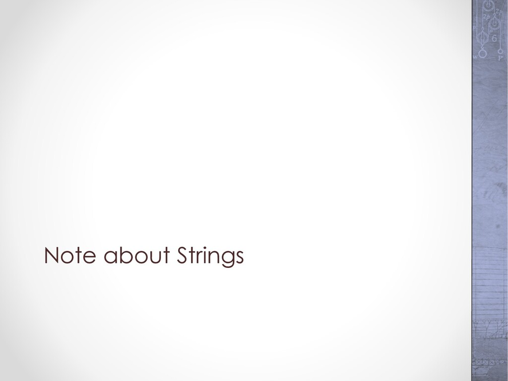 Note about Strings