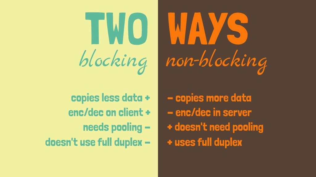 TWO WAYS blocking non-blocking copies less data...