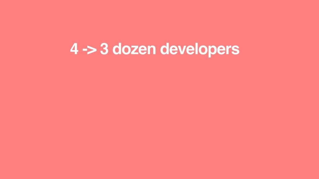 4 -> 3 dozen developers