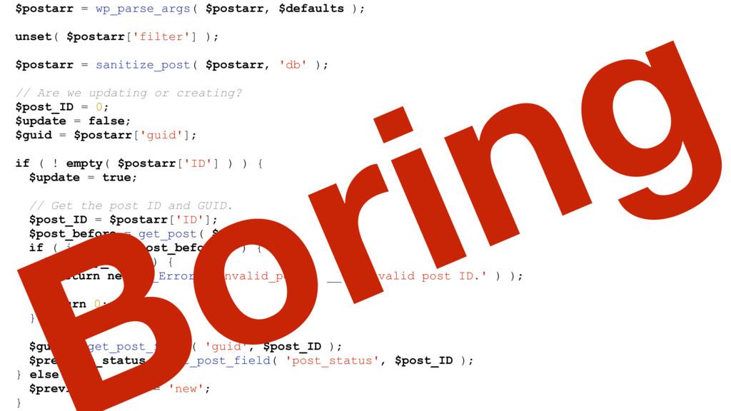 $postarr = wp_parse_args( $postarr, $defaults )...
