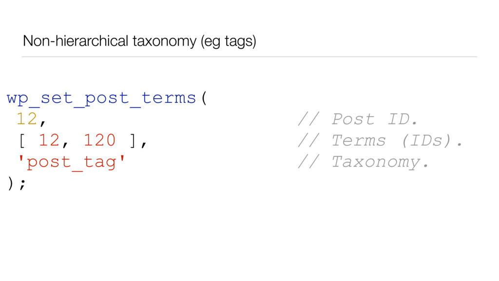 Non-hierarchical taxonomy (eg tags) wp_set_post...