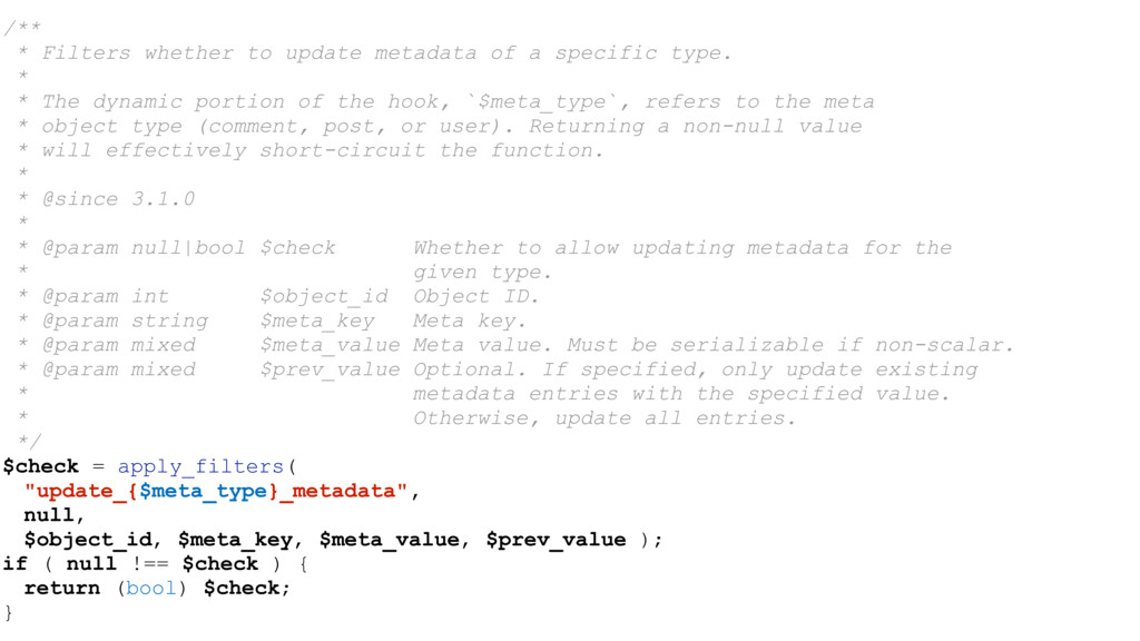 /** * Filters whether to update metadata of a s...