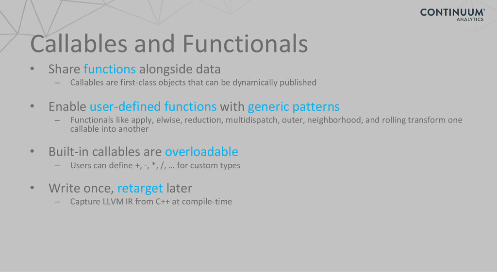 Callables and Functionals • Share functions alo...