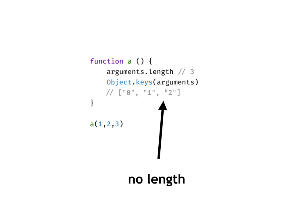 function a () { arguments.length !// 3 Object.k...