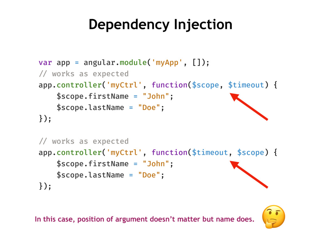 Dependency Injection var app = angular.module('...