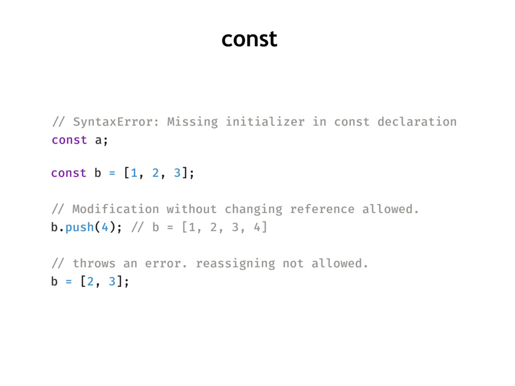 !// SyntaxError: Missing initializer in const d...