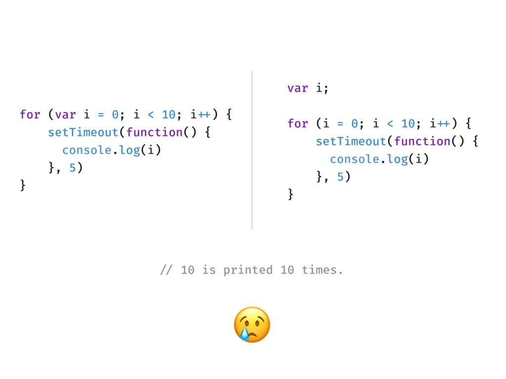 for (var i = 0; i < 10; i!++) { setTimeout(func...