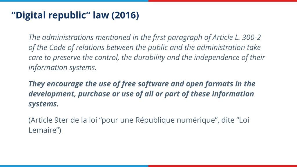 """Digital republic"" law (2016) The administratio..."