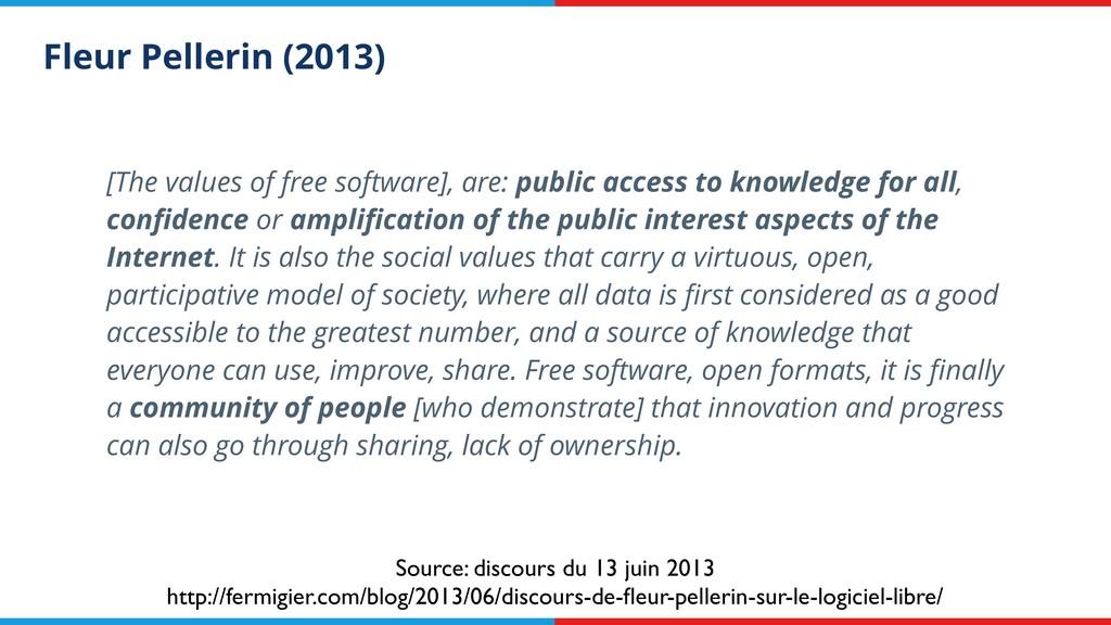 Fleur Pellerin (2013) [The values of free softw...