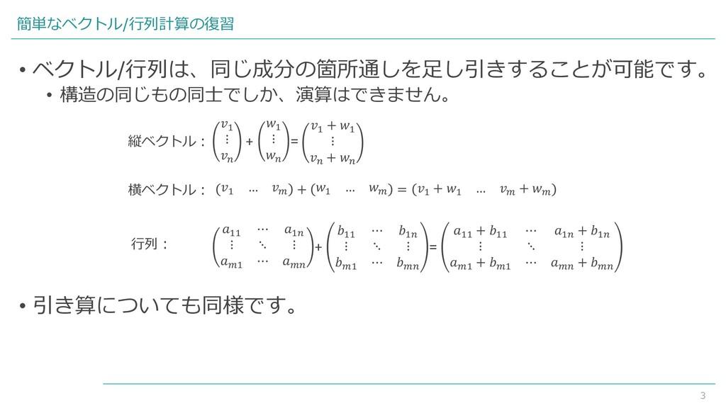 3 簡単なベクトル/行列計算の復習 1 ⋮  + 1 ⋮  = 1 + 1 ⋮  +  1 …...