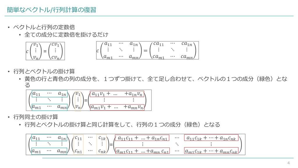 4 簡単なベクトル/行列計算の復習 • ベクトルと行列の定数倍 • 全ての成分に定数倍を掛ける...