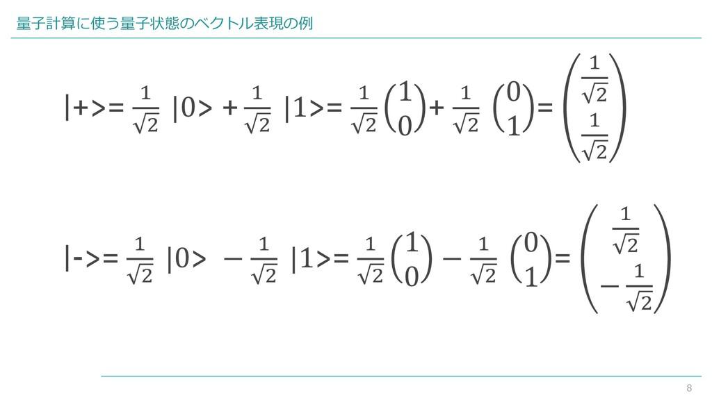 8 量子計算に使う量子状態のベクトル表現の例  +>= 1 2  0> + 1 2  1>= ...