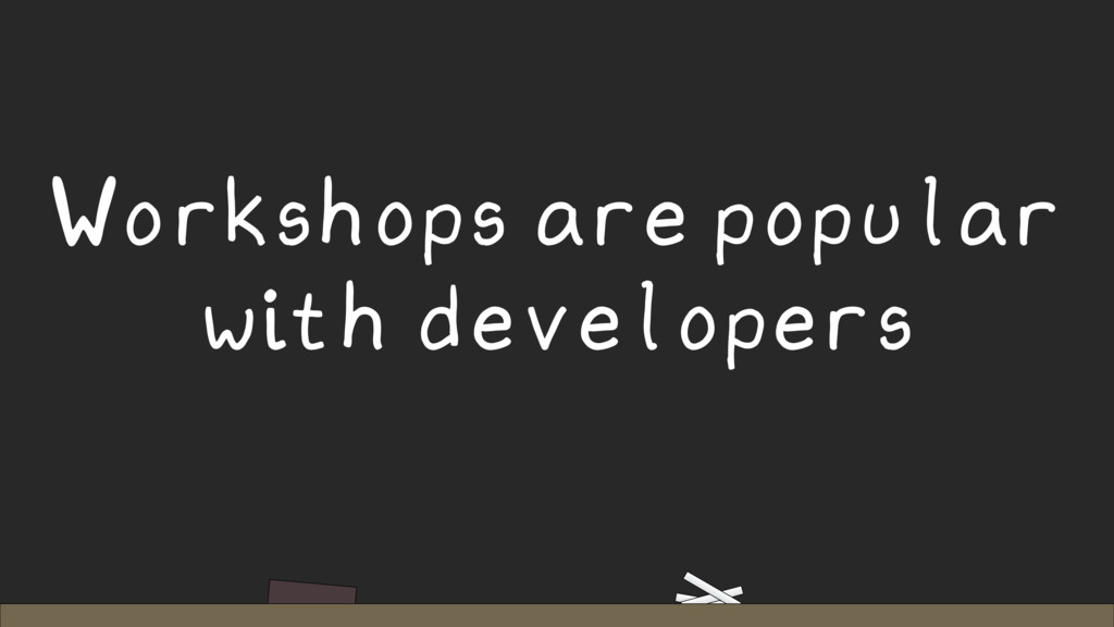 Workshops are popular with developers
