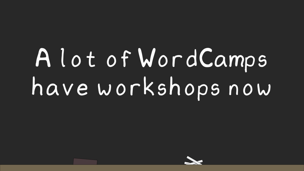 A lot of WordCamps have workshops now