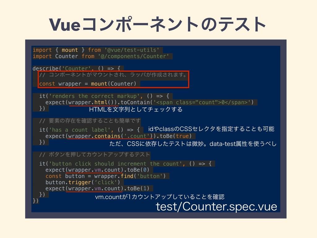 Vueίϯϙʔωϯτͷςετ import { mount } from '@vue/test...