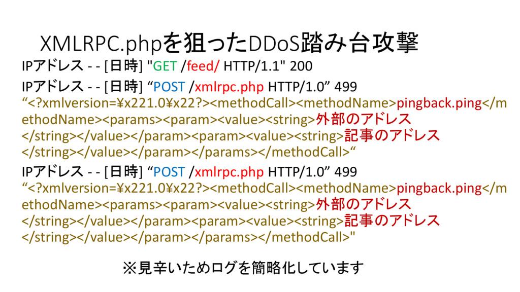 "XMLRPC.phpを狙ったDDoS踏み台攻撃 IPアドレス - - [日時] ""GET /f..."