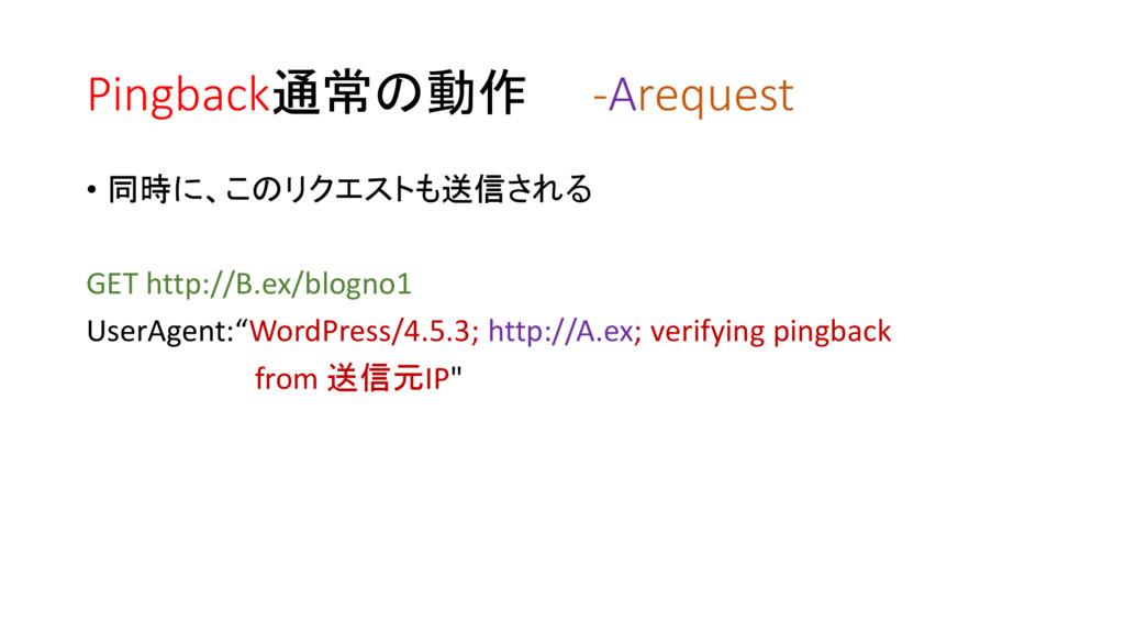 Pingback通常の動作 -Arequest • 同時に、このリクエストも送信される GET...