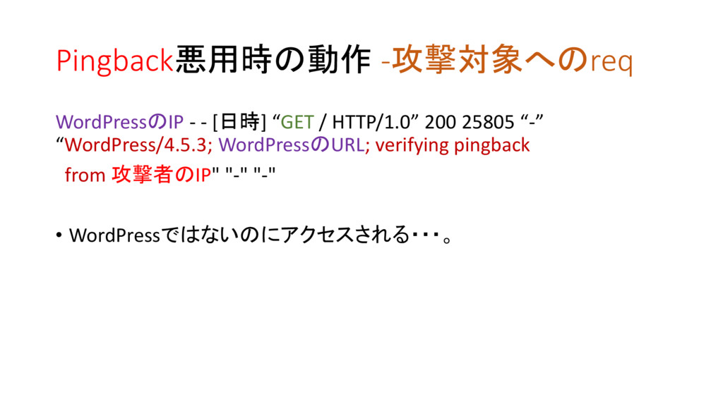 Pingback悪用時の動作 -攻撃対象へのreq WordPressのIP - - [日時]...