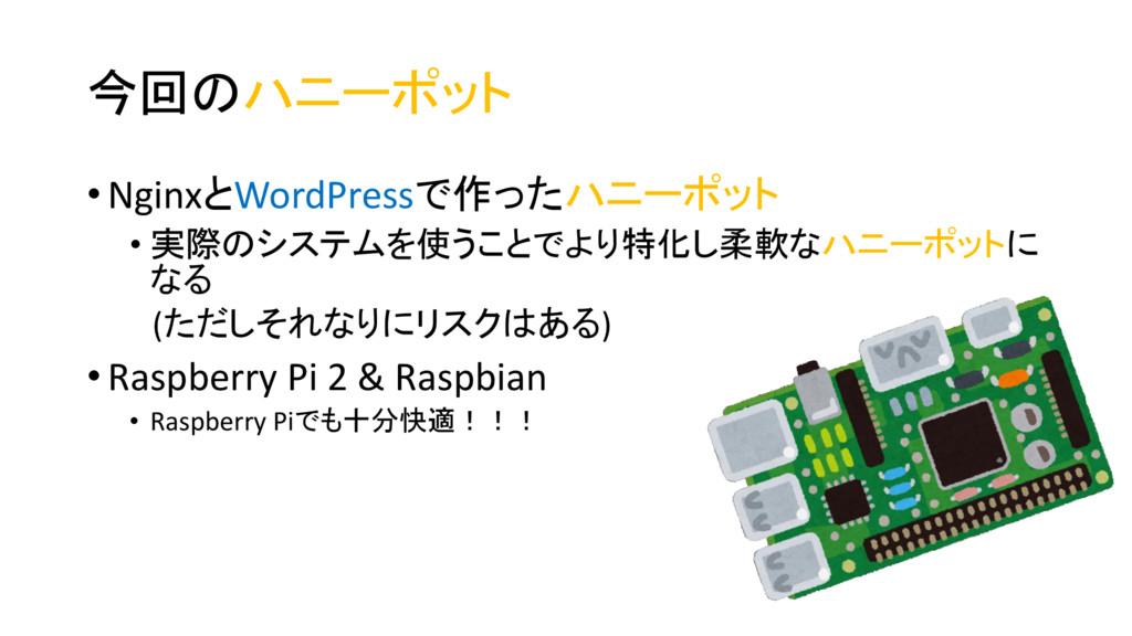 今回のハニーポット • NginxとWordPressで作ったハニーポット • 実際のシステム...