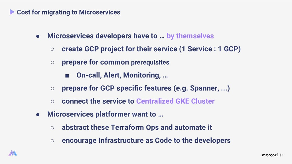 11 Cost for migrating to Microservices ● Micros...