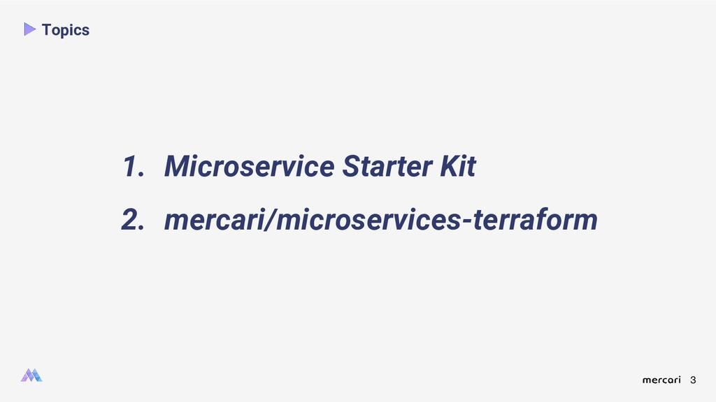 3 Topics 1. Microservice Starter Kit 2. mercari...