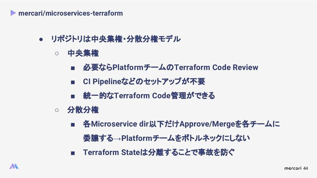 44 mercari/microservices-terraform ● リポジトリは中央集権...