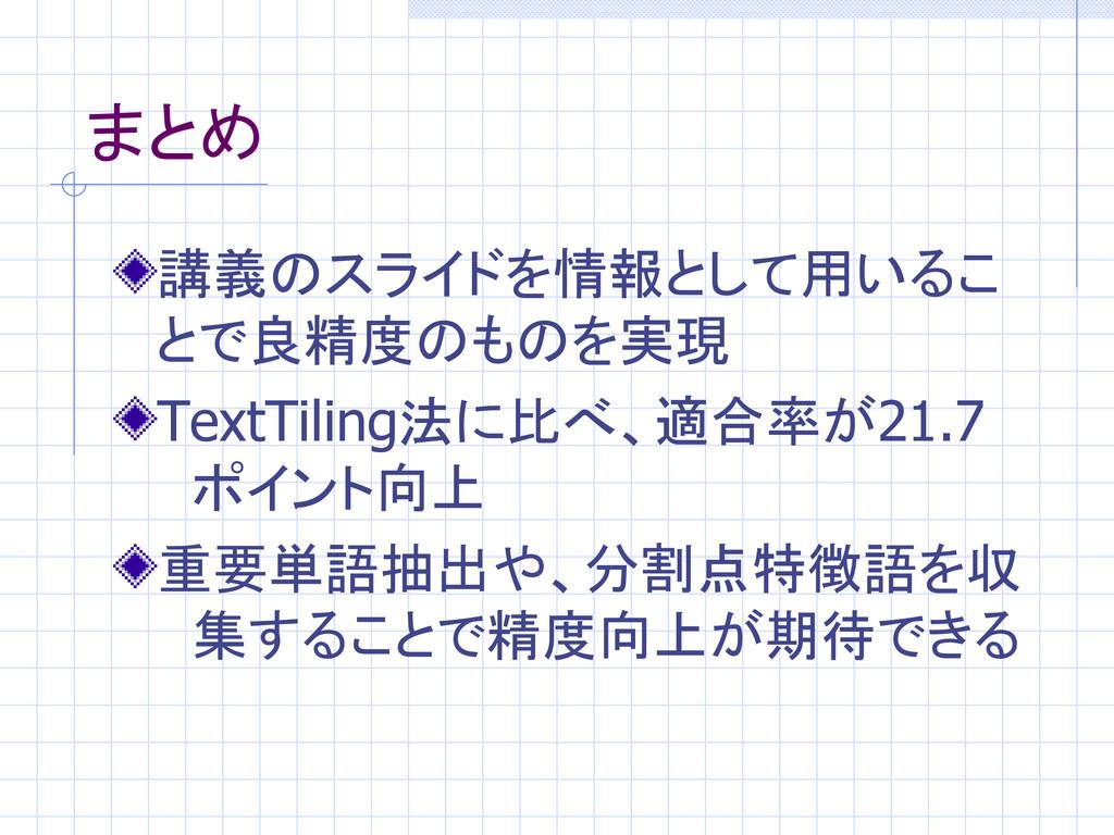 まとめ 講義のスライドを情報として用いるこ とで良精度のものを実現 TextTiling法に比...