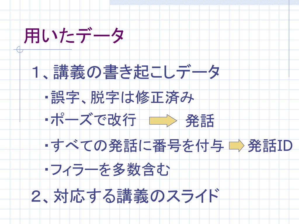 用いたデータ 1、講義の書き起こしデータ ・ポーズで改行 ・フィラーを多数含む ・誤字、脱字は...