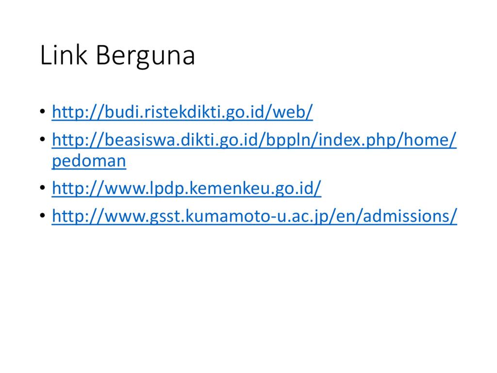 Link Berguna • http://budi.ristekdikti.go.id/we...
