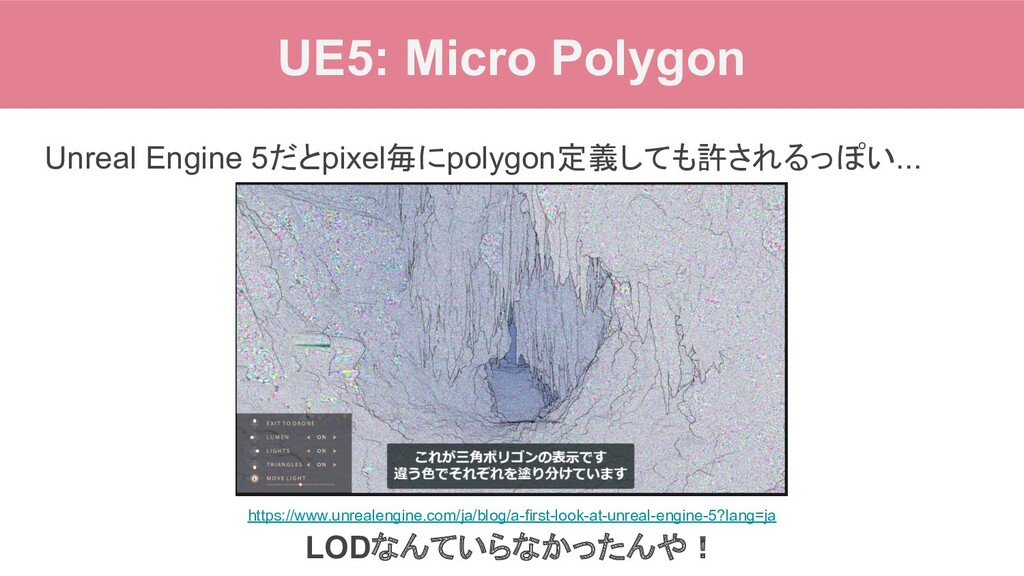 UE5: Micro Polygon Unreal Engine 5だとpixel毎にpoly...