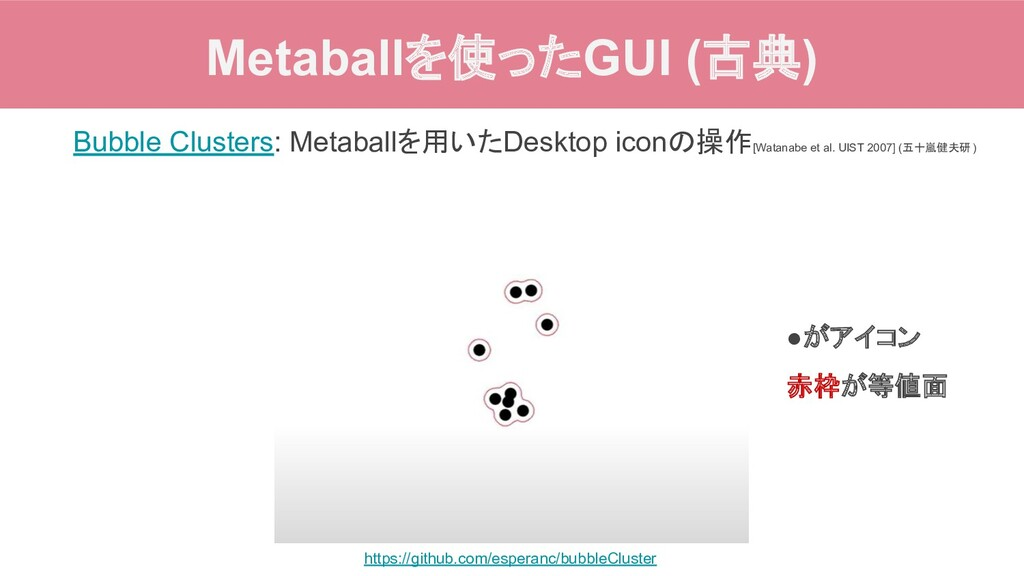 Metaballを使ったGUI (古典) Bubble Clusters: Metaballを...