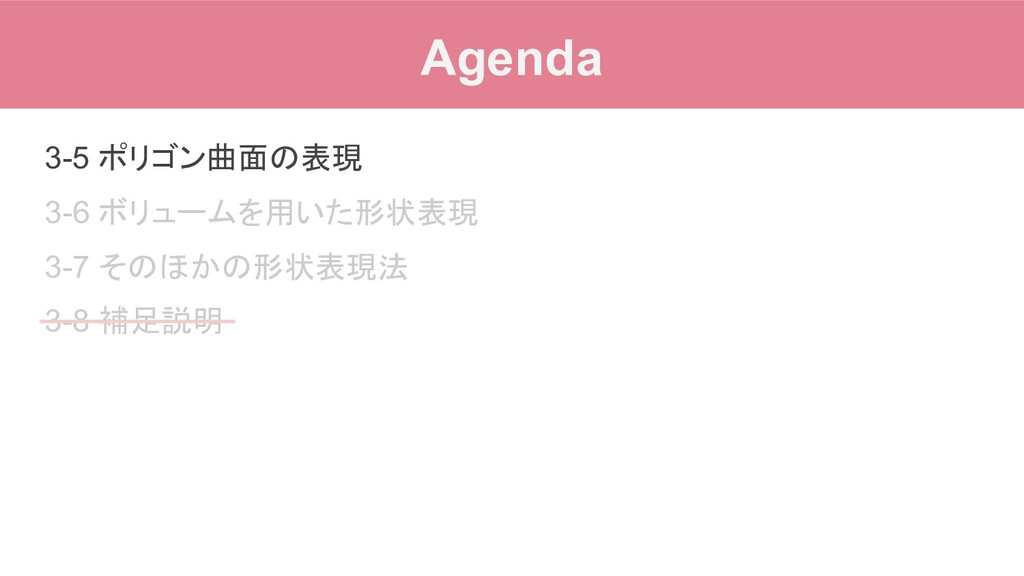 Agenda 3-5 ポリゴン曲面の表現 3-6 ボリュームを用いた形状表現 3-7 そのほか...