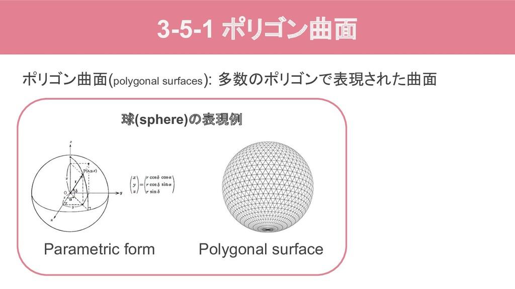 3-5-1 ポリゴン曲面 ポリゴン曲面(polygonal surfaces): 多数のポリゴ...