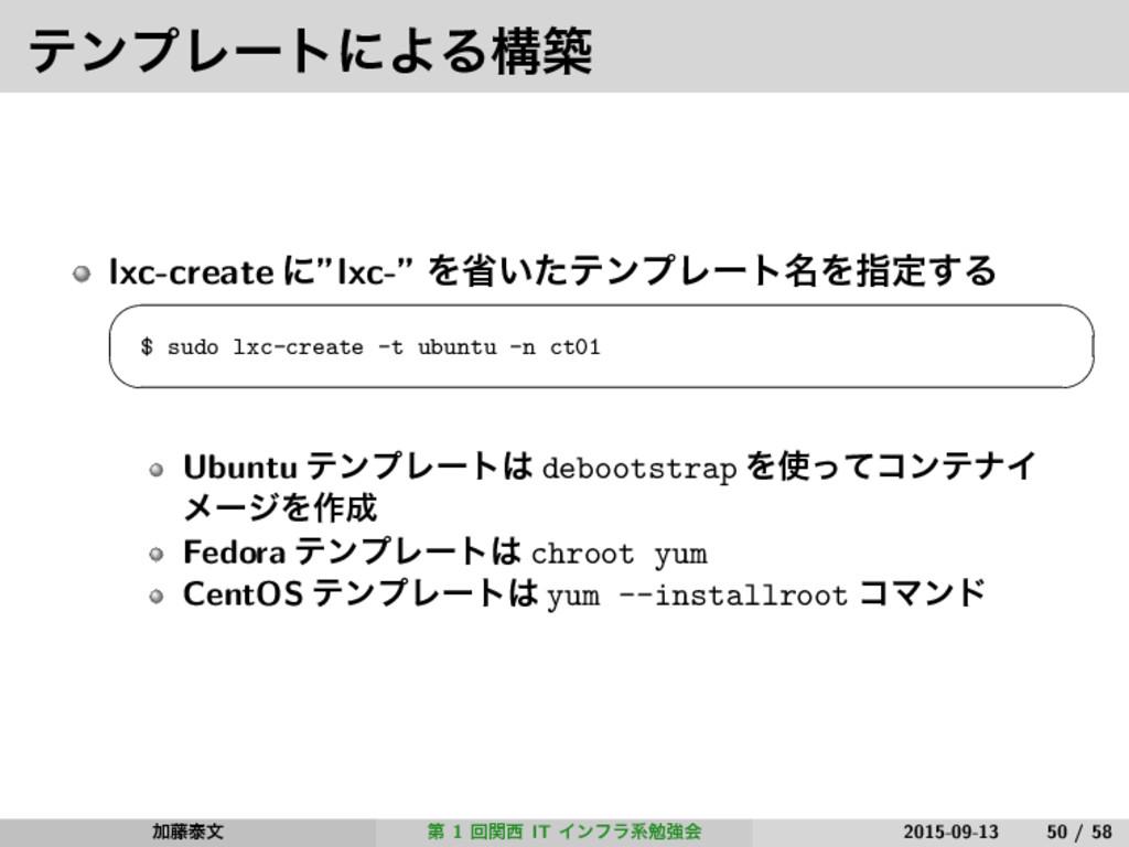"ςϯϓϨʔτʹΑΔߏங lxc-create ʹ""lxc-"" Λল͍ͨςϯϓϨʔτ໊Λࢦఆ͢Δ..."