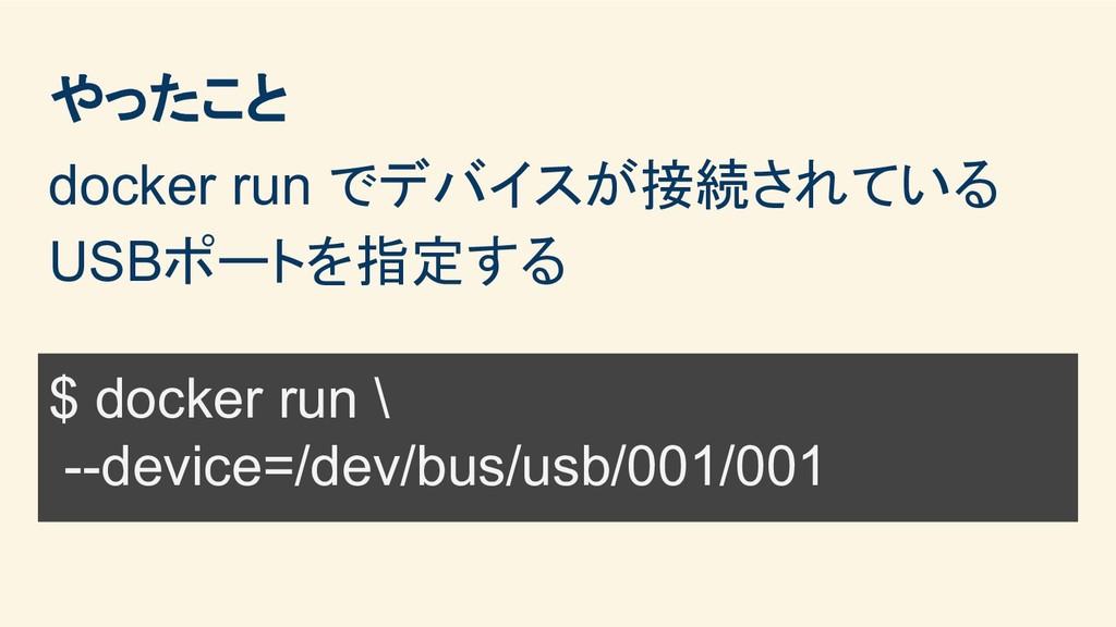 やったこと docker run でデバイスが接続されている USBポートを指定する $ do...