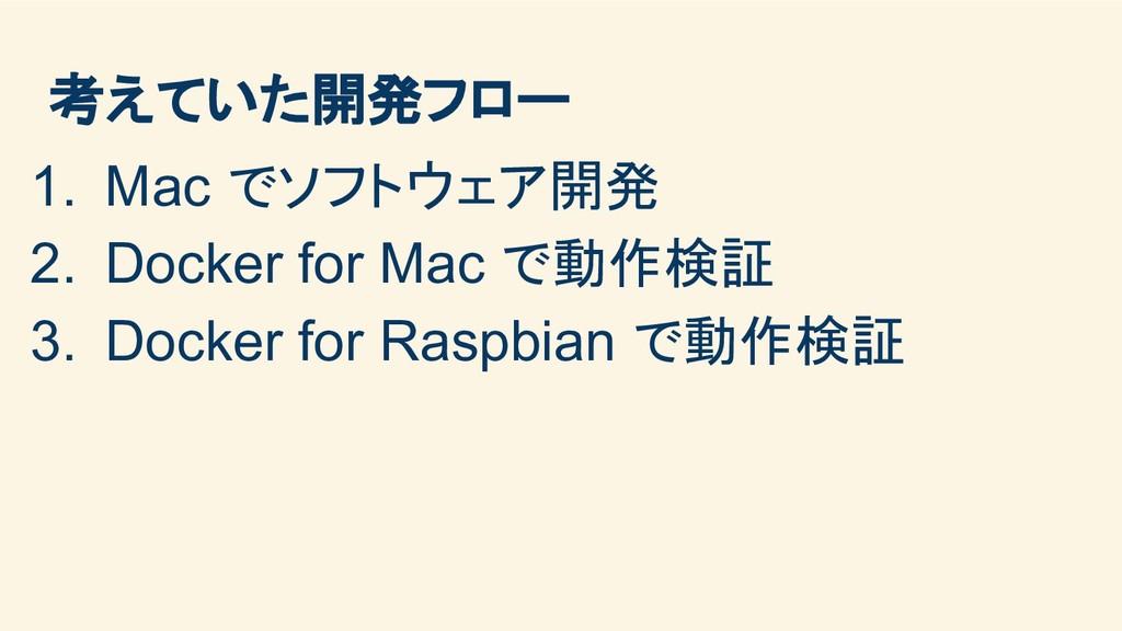 考えていた開発フロー 1. Mac でソフトウェア開発 2. Docker for Mac で...