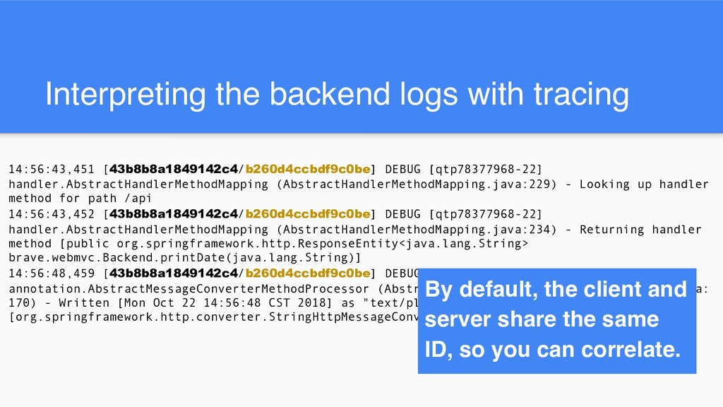 Interpreting the backend logs with tracing 14:5...