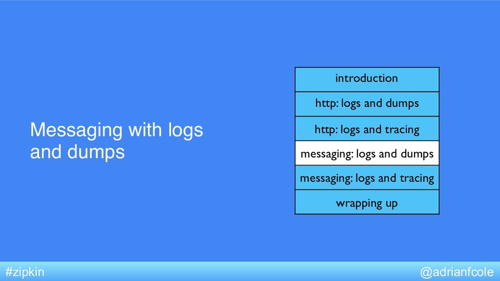 Messaging with logs and dumps @adrianfcole #zip...