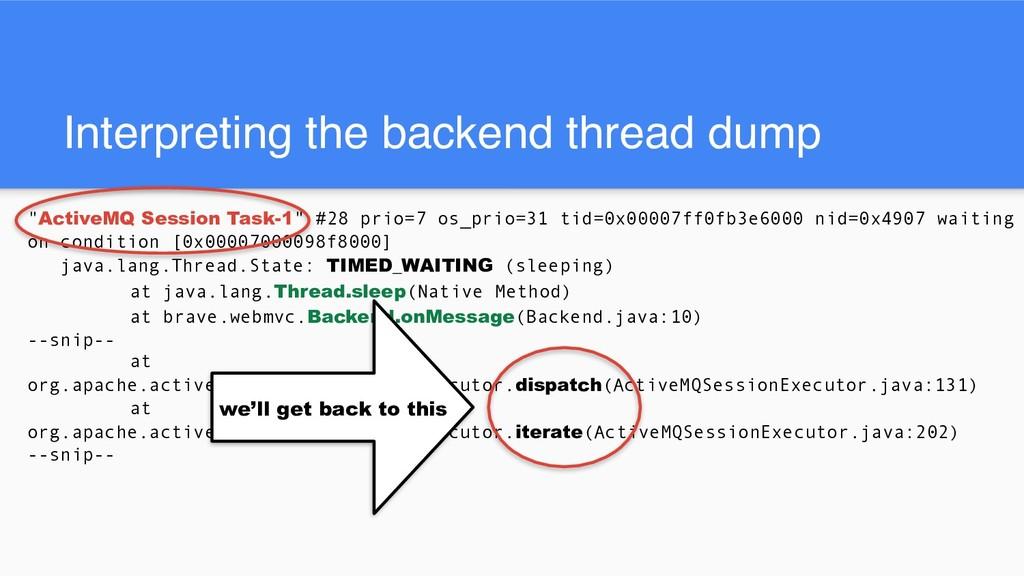 """Interpreting the backend thread dump """"ActiveMQ ..."""