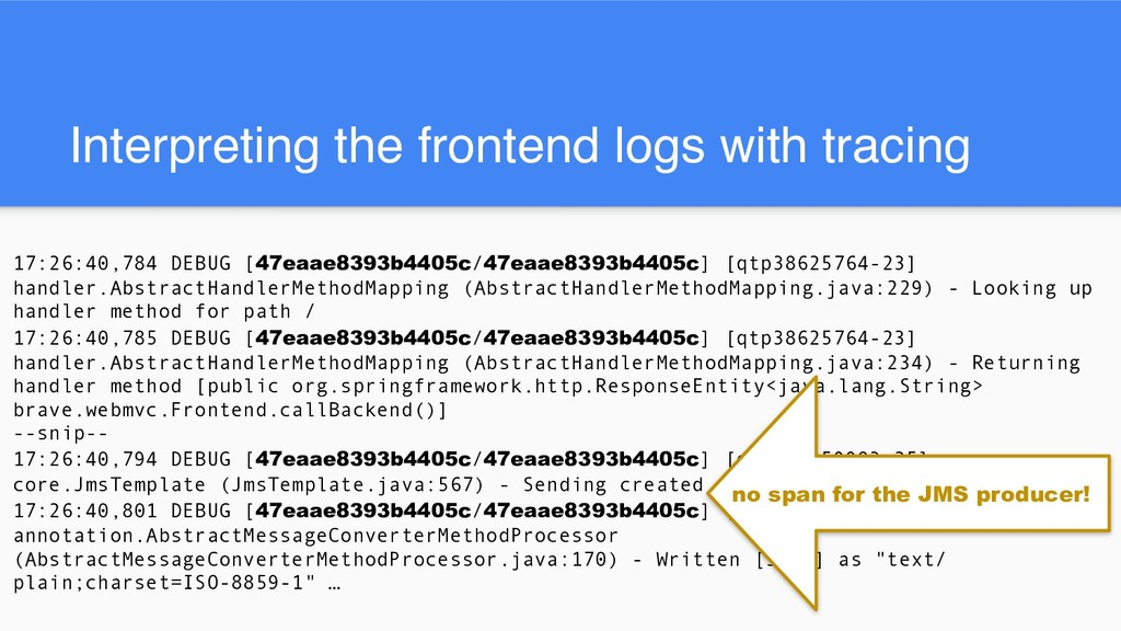 Interpreting the frontend logs with tracing 17:...
