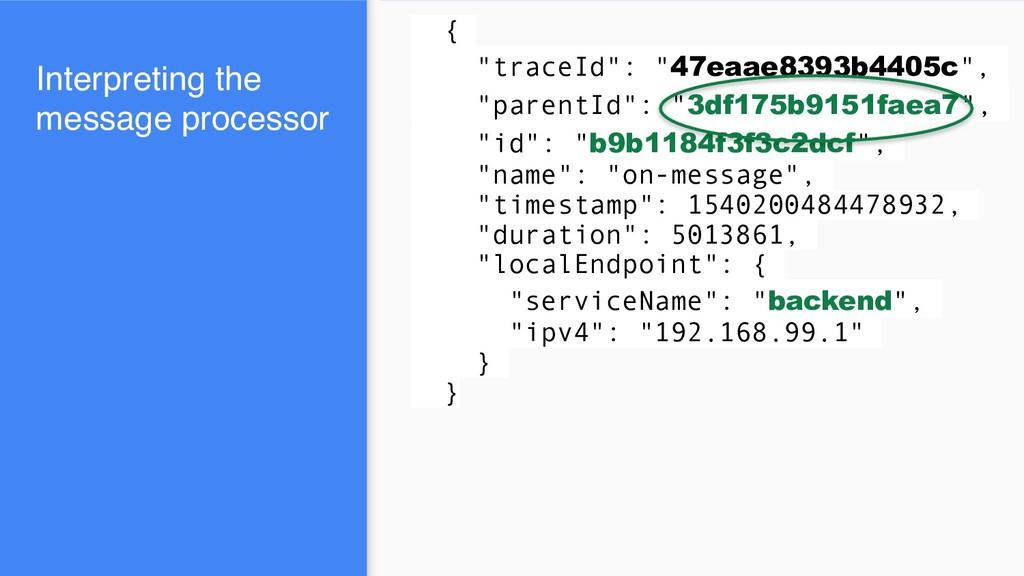 """{ """"traceId"""": """"47eaae8393b4405c"""", """"parentId"""": """"3..."""